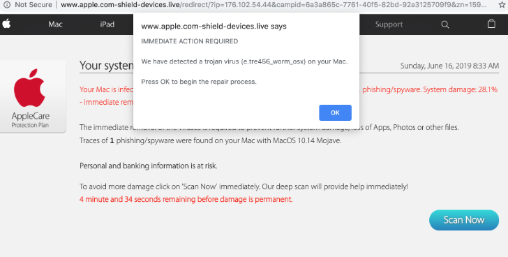 Apple.com-shield-devices.live POP-UP Scam